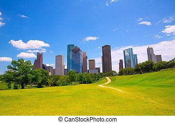 blaues, houston, wolkenkratzer, modern, himmelsgewölbe, skyline, texas