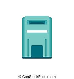 blaues, ikone, stil, inbox, wohnung