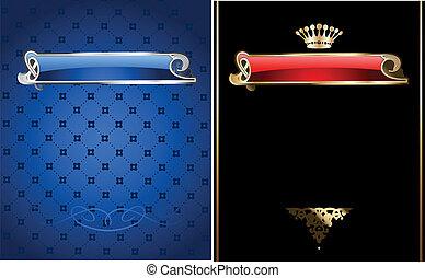 blaues, illustration., gold, banner., vektor, aufwendig