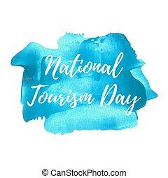 blaues, illustration., plakat, karte, gemalt, text, national, wörter, feiertag, geschrieben, vektor, logo, hintergrund, feier, tourismus, tag, beschriftung