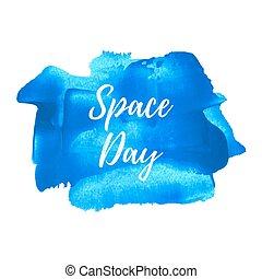 blaues, illustration., plakat, karte, gemalt, text, raum, feiertag, geschrieben, vektor, hintergrund, feier, wörter, tag, logo