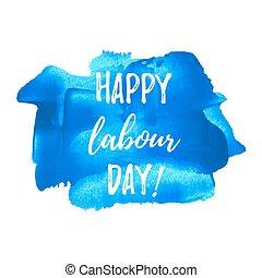 blaues, illustration., plakat, karte, gemalt, text, tag, feiertag, geschrieben, wörter, hintergrund, feier, arbeit, logo, glücklich