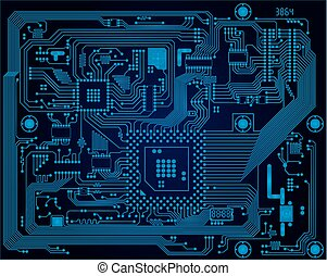 blaues, industrie, high-tech-, abstrakt, dunkel, stromkreis, vektor, brett, hintergrund, elektronisch