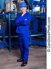 blaues, industrieller arbeiter, verschränkte arme, kragen