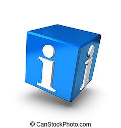 blaues, info, kasten, vorwärts