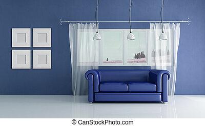 blaues, inneneinrichtung