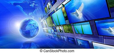blaues, internet, hintergrund, (global, und, kommunikation,...