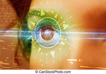 blaues, iris, auge, technolgy, cyber, schauen, m�dchen