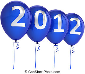 blaues, jahr, neu , luftballone, weihnachten, 2012