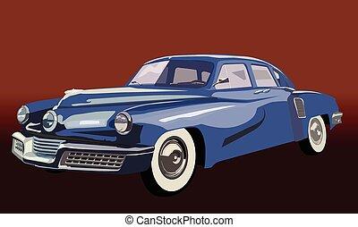 blaues, jahrgangsauto