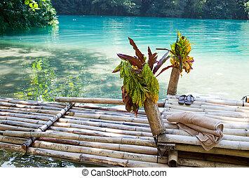 blaues, jamaika, floß, lagune, bank