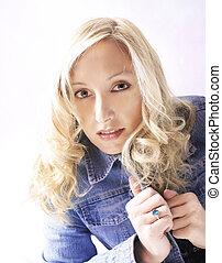 blaues, jeansstoff, blond