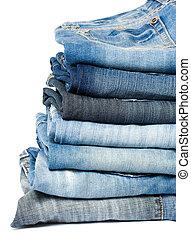 blaues, jeansstoff, jeans.