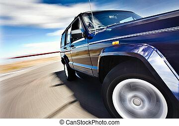 blaues, jeep, bewegung