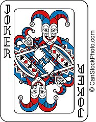 blaues, joker, schwarz rot, spielen karte