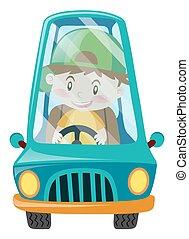 blaues, junge, glücklich, fahren, auto