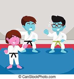 blaues, junge, karate, lernen