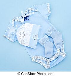 blaues, junge, säugling, kleidung, baby