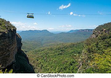 blaues, kabel, landschaftlich, auto, welt, australia., berge