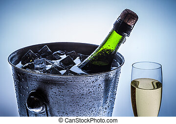 blaues, kalte , champagner, hintergrund, feier