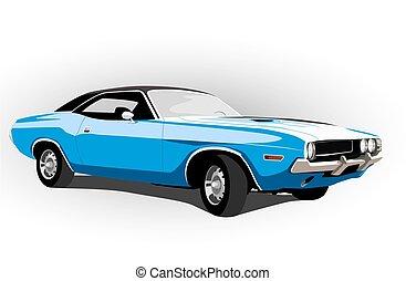 blaues, klassisch, heiß, auto