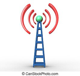 blaues, kommunikation, radio, hintergrund, weißer turm, 3d