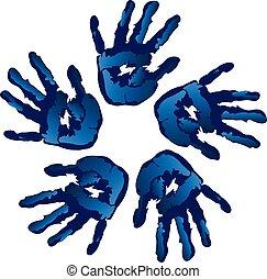 blaues, kreativ, hände, vektor, kreis