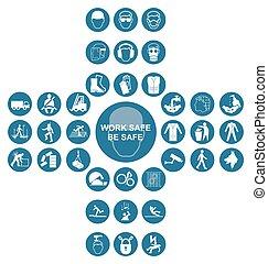 blaues, kreuzförmig, gesundheit sicherheit, ikone, sammlung