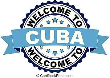 blaues, kuba, briefmarke, herzlich willkommen, gummi, schwarz