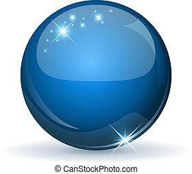 blaues, kugelförmig, freigestellt, white., glänzend