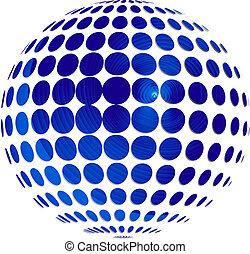 blaues, kugelförmig, vektor, hintergrund