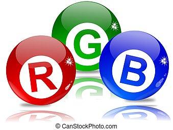 blaues, kugeln, grün rot
