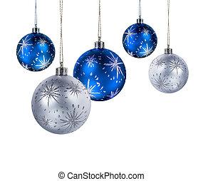blaues, kugeln, silber, weihnachten