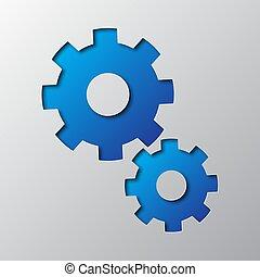 blaues, kunst, abbildung, papier, vektor, cogwheels.