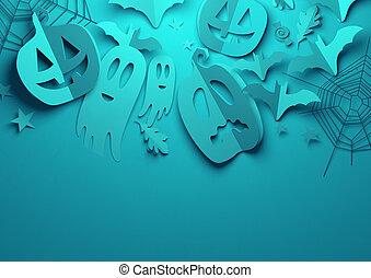 blaues, kunst, -, halloween, papier, hintergrund, gespenstisch