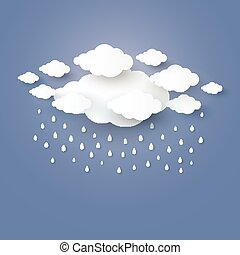 blaues, kunst, himmelsgewölbe, regen, stlye., papier, vektor, abbildung, wolke