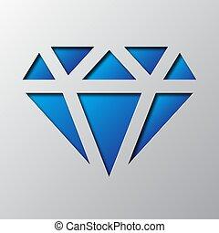 blaues, kunst, illustration., diamond., papier, vektor