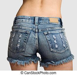 blaues, kurz, kurze hosen, jeans, freigestellt, m�dchen
