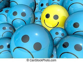 blaues, lächeln, gesicht