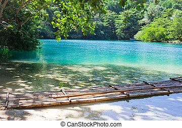 blaues, lagoon., jamaica.