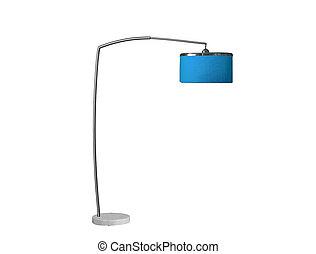 blaues, lamp;, studio, freigestellt, schreibtisch