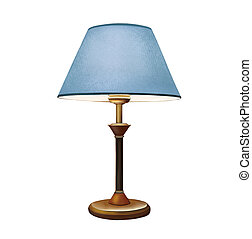 blaues, lampshade., bettseite, lamp., dekorativ, tischlampe