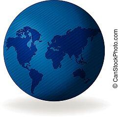 blaues, landkarte, erdball, web, logo