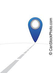 blaues, landkarte, somewhere, straße, punkt