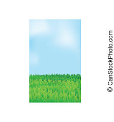 blaues, landschaftsbild, himmelsfeld, vektor, grün