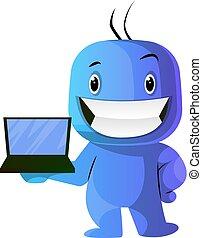 blaues, laptop, abbildung, vektor, hintergrund, caracter,...