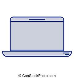 blaues, laptop-computer, silhouette