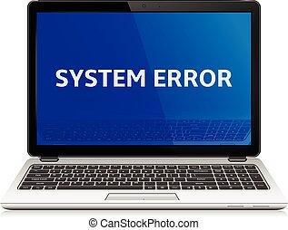 blaues, laptop, modern, systemfehler, nachricht, schirm
