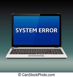 blaues, laptop, systemfehler, nachricht, schirm