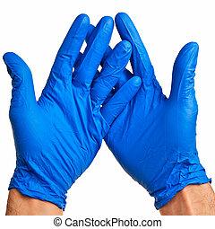 blaues, latex, mann, gloves., hände
